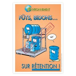 Fûts bidons sur rétention